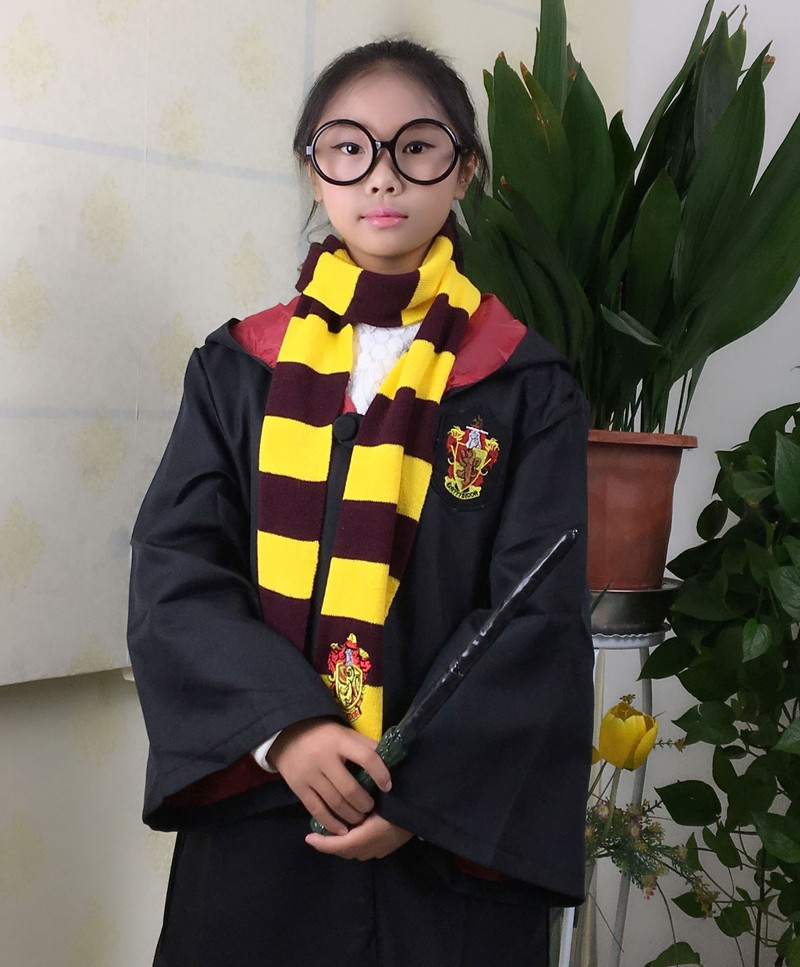 Huamaivn áo Choàng Harry Potter Màu đen Hóa Trang Halloween Vải Dày