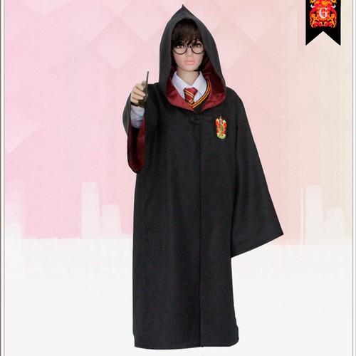 Áo choàng Harry Potter màu đen hóa trang halloween vải dày