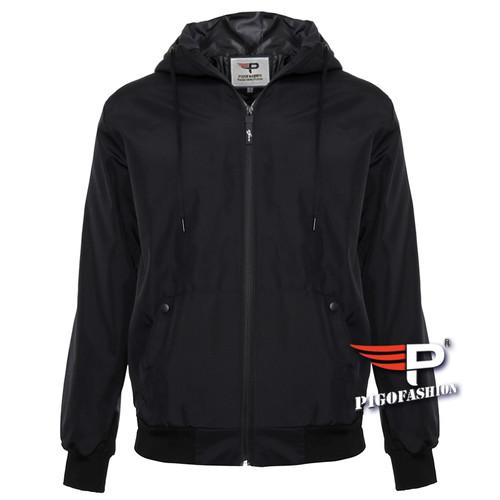 Áo khoác dù nam 2 lớp cao cấp phối nón Pigofashion chuẩn Xmen PAKD23 - 3 -Đen