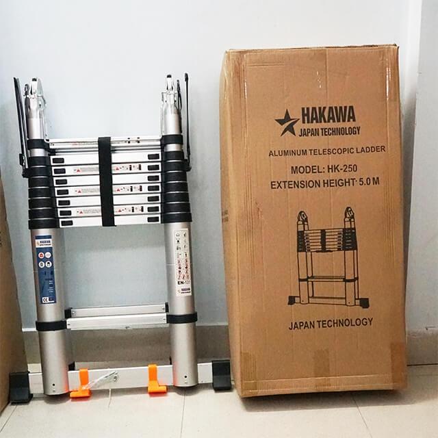 Thang nhôm rút cao cấp HAKAWA HK-250 5m Thang nhôm rút cao cấp HAKAWA HK-250 5m  Hakawa HK-250được phân phối tại Việt Nam bởi revaco. Sản phẩm luôn được được kiểm tra & đóng gói cẩn thận trước khi đến tay khách hàng.