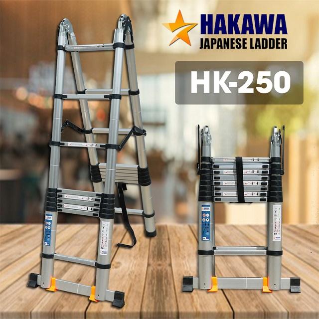Thang nhôm rút cao cấp HAKAWA HK-250 5m Thang nhôm rút đôiHAKAWAHK– 250là mẫu thang được yêu thích nhất trong trong4 mẫu thang nhôm rút đôicủa Hakawa. Sản phẩm sở hữu tính năng cao cấp, được chế tác từ nhôm T6063 siêu sáng bóng, siêu đẹp, siêu bền.