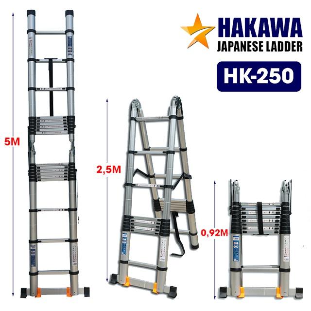 Thang nhôm rút cao cấp HAKAWA HK-250 5m Là mẫu thang nhôm đa năng, HK-138 có 3 hình dạng chính: chữ A (chiều cao tối đa 2,5m), chữ I (chiều cao tối đa 5m), và dạng xếp gọn (chiều cao 92cm)