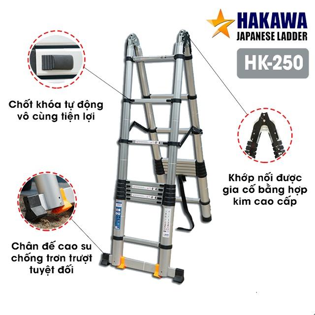Thang nhôm rút cao cấp HAKAWA HK-250 5m HK-250được làm từ hợp kim nhôm cao cấp T6063 chuyên dụng chế tạo vỏ máy bay. Bên cạnh đó là sự bổ sung các tính năng vô cùng tuyệt vời nhưchốt khóa tự động, khớp nối gia cố, chân đế cao suhaythanh thép siêu cứnggiúp thang luôn vững chắc.