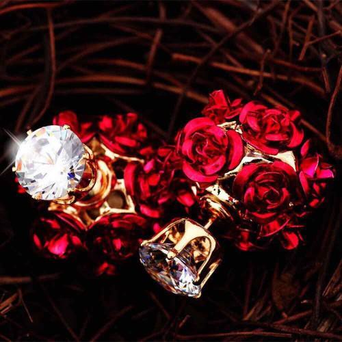Bông tai hoa hồng đính pha lê cực xinh