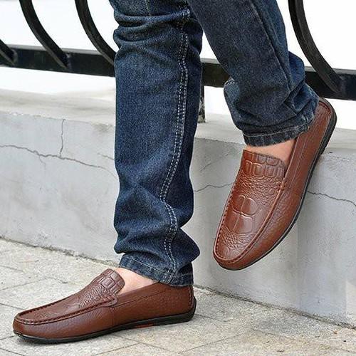 Giày Lười Da Bò Vân Cá Sấu SG153