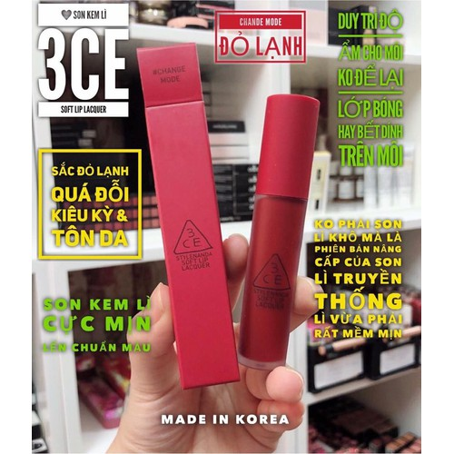 SON 3CE SOFT LIP LACQUER  CHANGE MODE ĐỎ LẠNH