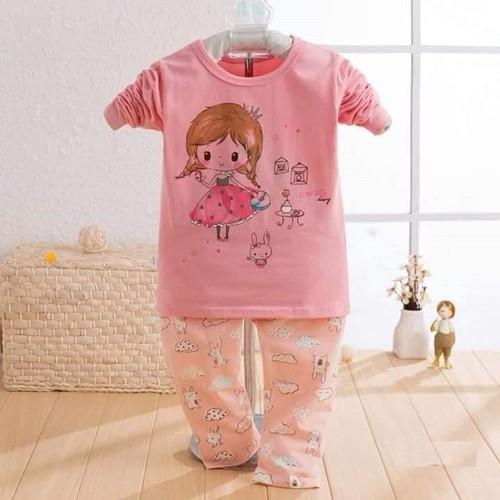 Bộ quần áo hình công chúa xuất hàn dài tay cho bé
