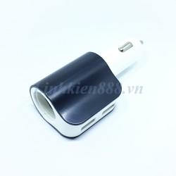 Sạc điện thoại dùng trên ô tô 2 đầu ra USB 1 đầu ra kiểu tẩu thuốc