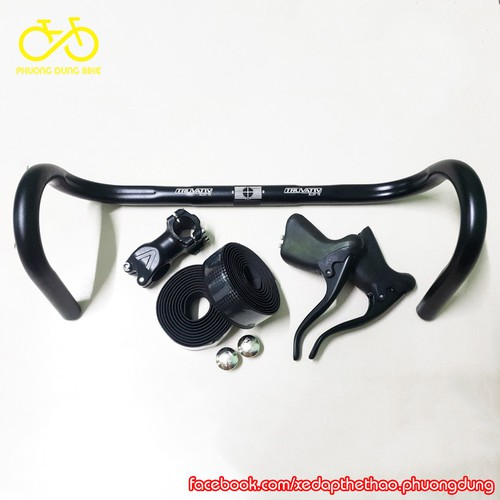 Combo ghi đông xe đạp Truvativ, pô tăng, tay phanh, dây quấn vân Carbon