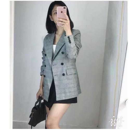 Áo Vest nữ kẻ xám cao cấp