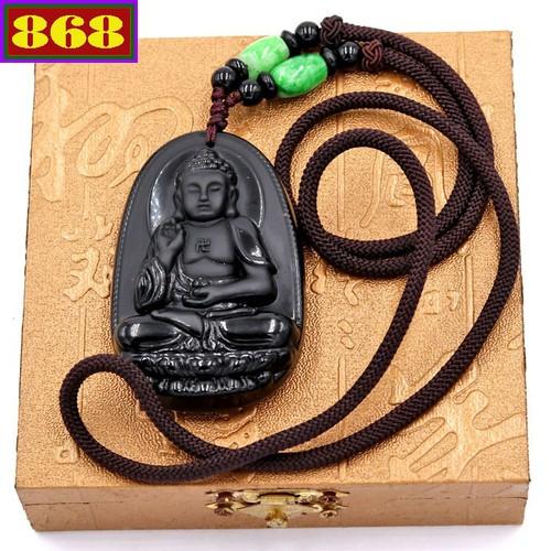 Vòng cổ Phật A Di Đà đá 6 cm DNDS7 kèm hộp gỗ