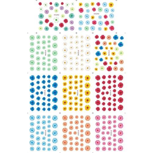 Hình dán sticker 3d trang trí móng nail bảng to nhiều mẫu hoa hình đẹp