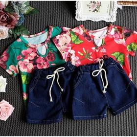 đồ bộ bé gái thời trang trẻ em sét áo thun hoa quần short size bé 15-18kg - si bo 82k
