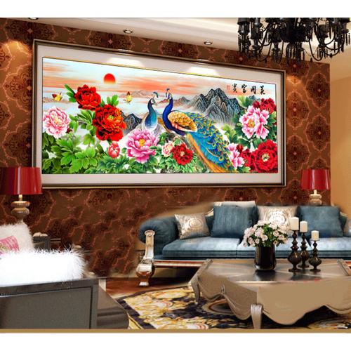 tranh thêu chim công hoa mẫu đơn 199x76cm