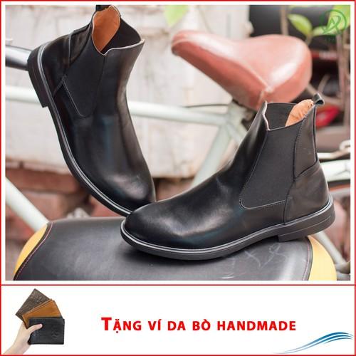 Chelsea boot cổ cao da bò màu đen - CB540 - V