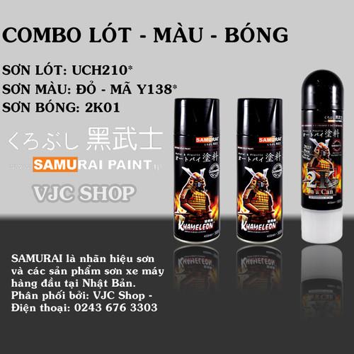 Bộ 3 chai sơn Samurai lót - màu - bóng đầy đủ sơn màu đỏ rực Y138 - 5691334 , 12136451 , 15_12136451 , 369000 , Bo-3-chai-son-Samurai-lot-mau-bong-day-du-son-mau-do-ruc-Y138-15_12136451 , sendo.vn , Bộ 3 chai sơn Samurai lót - màu - bóng đầy đủ sơn màu đỏ rực Y138