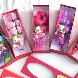 Hộp quà tặng hoa hồng kèm gấu bông