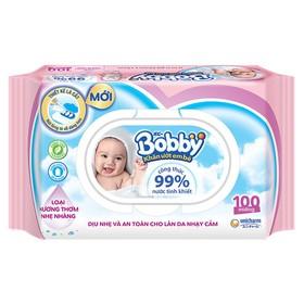 Bộ 5 Gói Khăn Ướt Bobby Có Mùi Nhẹ 100 Tờ - Gói Hồng