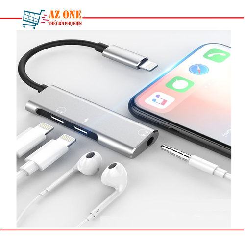 Cáp Lightning 3 In 1 Adapter + 3.5mm Audio Headphone Cho iPhone 7,8,X