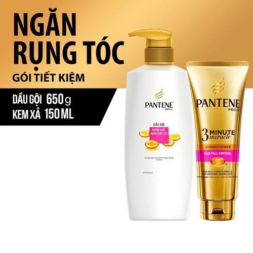 Bộ dầu gội và dầu xả Pantene Ngăn rụng tóc 650g và 150ml