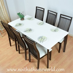 Bộ bàn ăn bàn mặt trắng và 6 ghế- hàng xuất khẩu Nhật- Bảo hành 1 năm