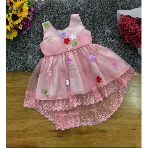 Đầm công chúa đuôi tôm đính hoa 3D kiêu sa cho bé gái 22-37kg