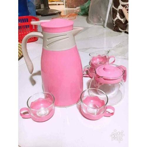 set bộ bình nước và 4 cốc đi kèm binh trà thủy tinh