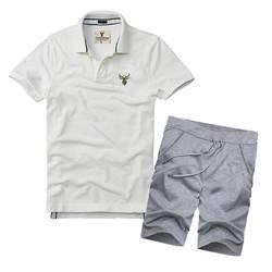 Bộ áo thun nam cổ bẻ + quần short thể thao BTT02 - 1 - Áo Trắng, Xám