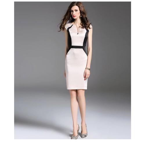 Đầm ôm phối màu trắng đen Anbinh Moden 068
