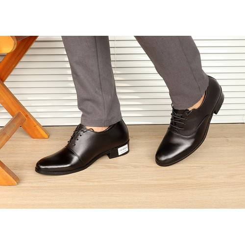Giày tăng chiều cao nam da thật S1012 đen, cao 8cm