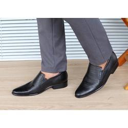 Giày tăng chiều cao nam da thật S952 đen sần, cao 6cm