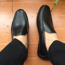Giày mọi nam da bò thật đế cao su - Bảo hành 1 năm