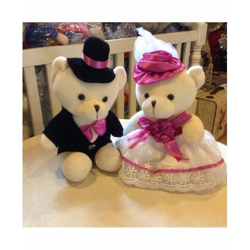 Gấu đôi cô dâu chú rể 17cm