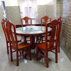 Bộ bàn ghế ăn bàn xoay gỗ trẹo