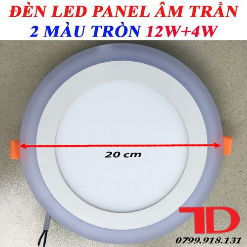 Đèn LED Panel âm trần tròn 2 màu tròn 12W, 4W Xanh Dương