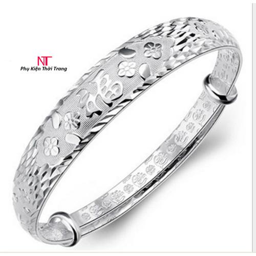 vòng tay nữ chữ PHÚC đồng trắng mạ 925 bạc dầy phong cách sang trọng