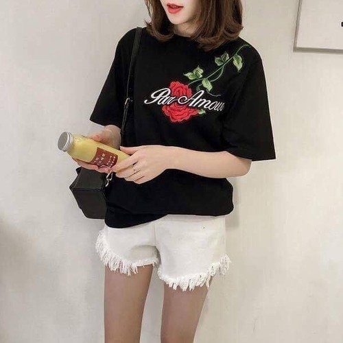 Áo thun nữ tay lỡ in hoa hồng AT218
