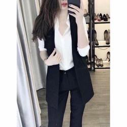 Áo ghi lê nữ dáng dài - áo vest