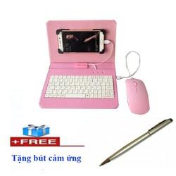 Combo bao da bàn phím có chuột + Bút cảm ứng điện thoại, máy tính bảng