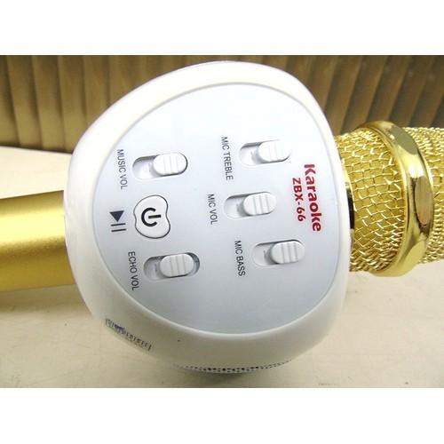 Micro Hát Karaoke Kèm Loa Bluetooth ZBX-66 - Vàng