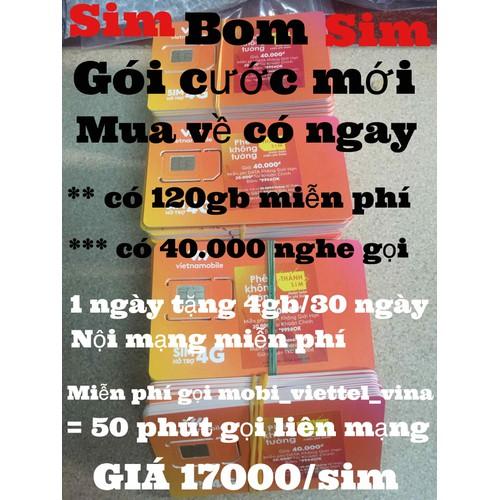 sim Vietnamobile  4G có 120gb +50 phút liên mạng