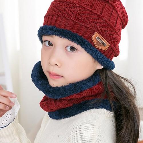 Bộ mũ len kèm khăn quàng cổ trẻ em
