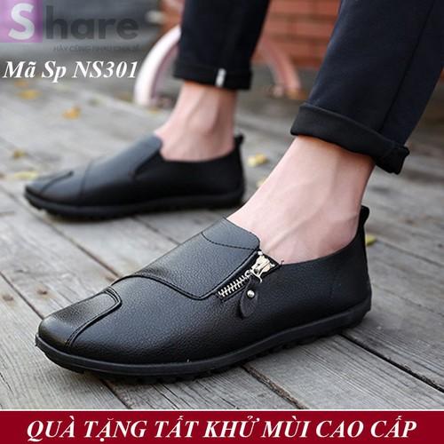 TẶNG TẤT LƯỜI CAO CẤP - Giày Lười Nam Hàn Quốc Màu Đen