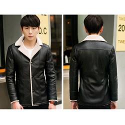 Áo khoác da nam dạng vest lót lông cao cấp AD21