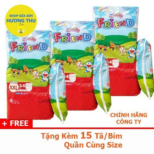 Combo 3 Bịch Tã quần Goon Friend size XXL 34 miếng, tặng kèm quà