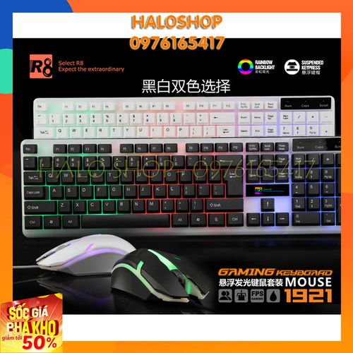 COMBO Mouse + Bàn phím chuyên game giả cơ R8-1921[NP1327]