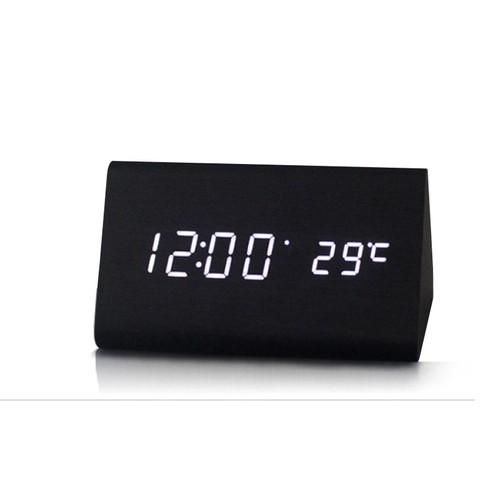 Đồng hồ LED báo thức đo nhiệt độ vỏ gỗ M3 - Hình khối tam giác