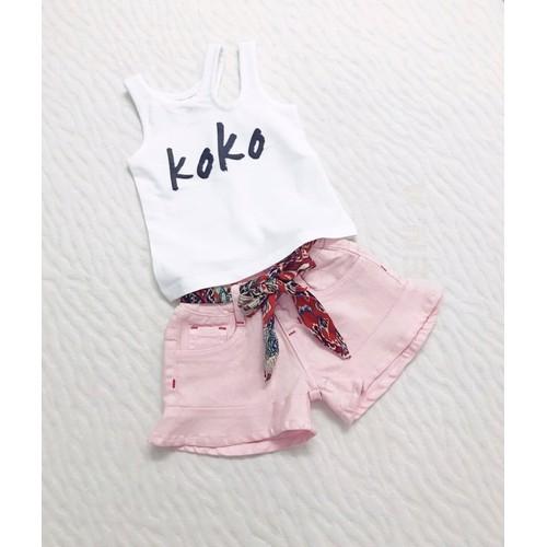 Set áo quần short bé gái: chất áo thun quần kaki