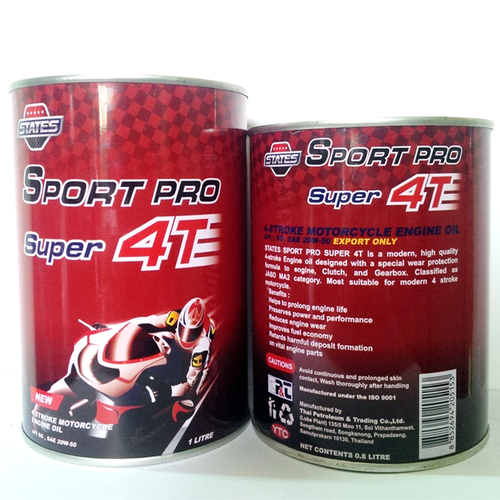 Nhớt xe số States Sport Pro Super 4T 0.8lit lon thiết