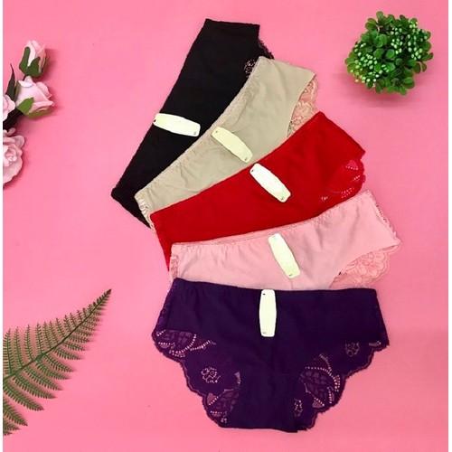 Set 5 quần lót nữ su đúc phối ren mềm mịn